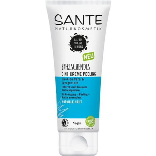 Sante Erfrischendes 3in1 Creme Peeling Bio-Aloe Vera & Lavagestein Gesichtspeeling 100 ml