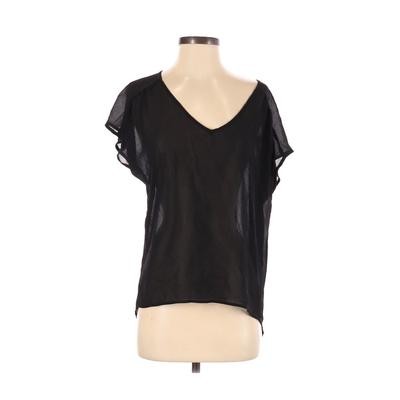 Pretty Good Short Sleeve Blouse: Black Solid Tops - Size Small