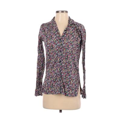 Toujours Toi Family Affairs Long Sleeve Button Down Shirt: Blue Floral Tops - Size Small