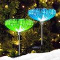 Solar Garden Lights, 7 Color Changing Solar Lights Outdoor Decorative, IP65 Waterproof Garden Lights Solar Powered, 2 Pack Solar Flower Lights, Fiber Optic for Yard Patio Pathway Decorations