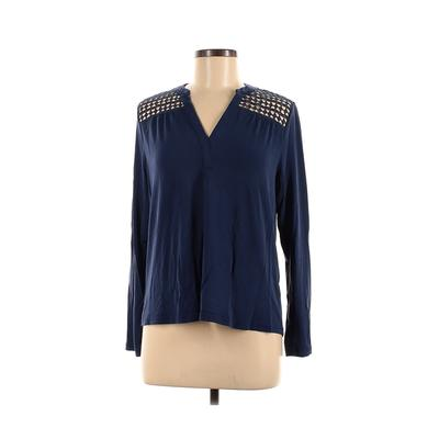 Q&A Long Sleeve Top Blue Solid V-Neck Tops - Used - Size Medium