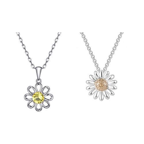 Schmuck: Halskette mit Blumen-Anhänger mit Swarovski®-Kristallen / 2