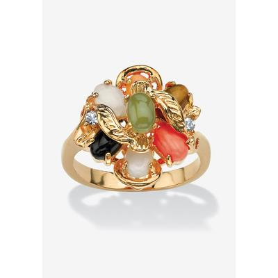 Plus Size Women's 18K Gold-plated Oval Jade, Coral, Onyx, Tiger's Eye and Opal Ring by PalmBeach Jewelry in Gold (Size 8)