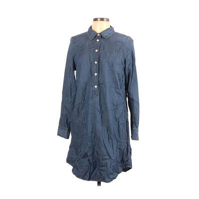 J.Crew Factory Store - J.Crew Factory Store Casual Dress - Shirtdress: Blue Solid Dresses - Used - Size Large