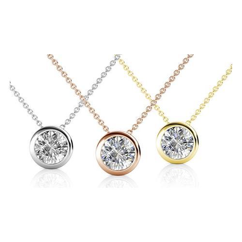 Halskette mit Kristall-Anhänger: 2/ Silber + Roségold