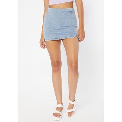 Rue21 Womens Denim Double Thigh Slit Mini Skirt - Size S