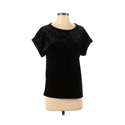 Gap Short Sleeve Top Black Solid Scoop Neck Tops - Used - Size Small Tall