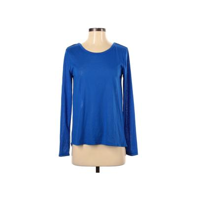 Material Girl Long Sleeve Top Blue Solid Scoop Neck Tops - Used - Size Small