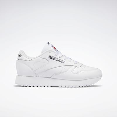 Reebok Women's Classic Leather Ripple Shoes in Ftwr White/Ftwr White/Ftwr White Size 6.5 - Lifestyle Shoes