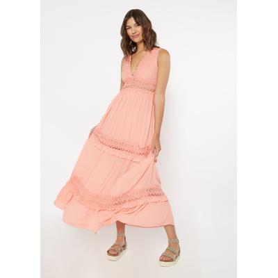 Rue21 Womens Pink Crochet Inset Deep V Neck Maxi Dress - Size S