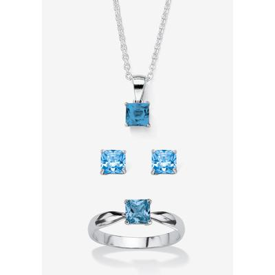 """Plus Size Women's Sterling Silver Simulated Birthstone Ring Earring and Necklace Set 18"""" by PalmBeach Jewelry in March (Size 4)"""