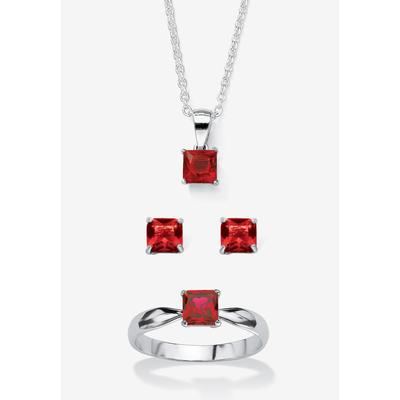 """Plus Size Women's Sterling Silver Simulated Birthstone Ring Earring and Necklace Set 18"""" by PalmBeach Jewelry in July (Size 5)"""