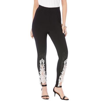 Plus Size Women's Lace-Applique Legging by Roaman's in Black (Size 1X)