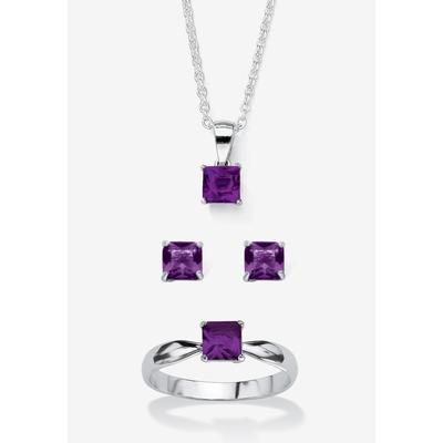 """Plus Size Women's Sterling Silver Simulated Birthstone Ring Earring and Necklace Set 18"""" by PalmBeach Jewelry in February (Size 4)"""
