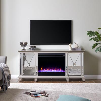 Toppington Mirrored Fireplace Media Console by Southern Enterprise in Mirror