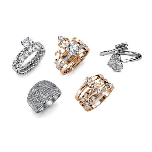 Damen-Ring mit Kristallen: Solar/Roségold/Gr. 52