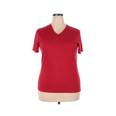 Giordano Short Sleeve T-Shirt: Red Solid Tops - Size 2X-Large