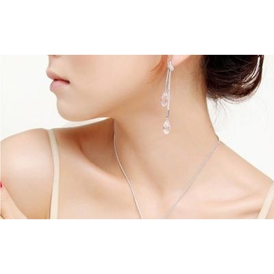 Parure ornée de cristaux Swarovski® : Set de collier et de boucles d oreilles Justine / Blanc / 2