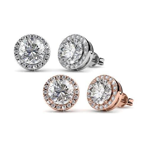 Ohrstecker mit Kristallen: Silber