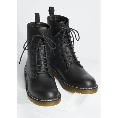 Rue21 Womens Black Faux Leather Combat Boots - Size 6