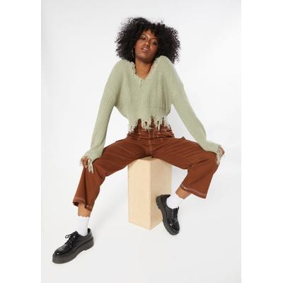 Rue21 Womens Light Green Destructed Hem Crop Sweater - Size L