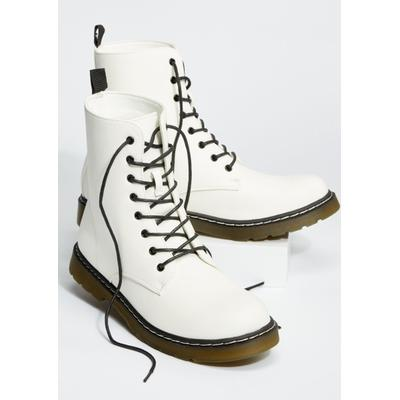Rue21 Womens White Faux Leather Combat Boots - Size 10