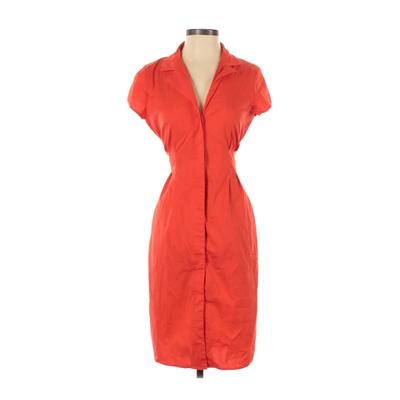 Anne Klein - Anne Klein Casual Dress - Shirtdress: Orange Solid Dresses - Used - Size 4