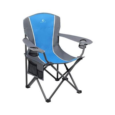 Alphacamp Blue Grey Portable Oversize Camping Arm Chair With Storage Bag
