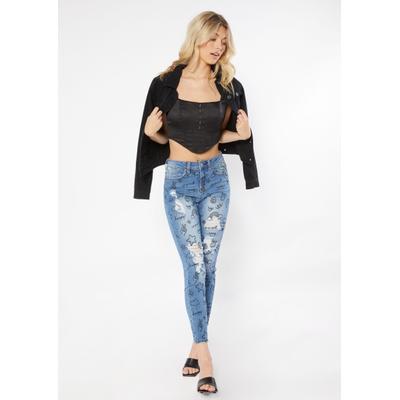 Rue21 Womens Medium Wash High Rise Ripped Graffiti Print Skinny Jeans - Size 0