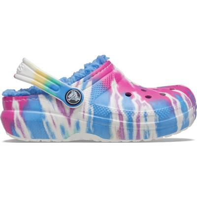 Crocs Powder Blue / Multi Kids' Classic Lined Tie-Dye Graphic Clog Shoes