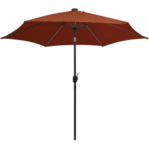Sonnenschirm mit LED-Leuchten Alu-Mast 300 cm Terracotta-Rot