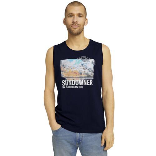 TOM TAILOR Muskelshirt, mit Logoprint blau Herren Muskelshirts Shirts Muskelshirt