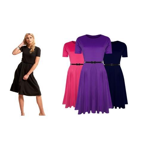 Damen-Kleid mit Gürtel: Kirschrot/ Gr. 3XL-4XL