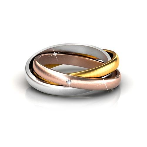 3-in-1 Damen-Ring mit Kristall: Gr. 50