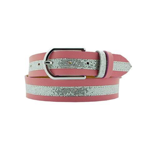 AnnaMatoni Ledergürtel, Mittig mit Glitterstreifen rosa Damen Ledergürtel Gürtel Accessoires