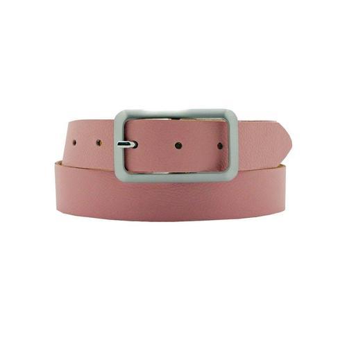 AnnaMatoni Ledergürtel, Mit satinierter eckiger schlichter Gürtelschließe rosa Damen Ledergürtel Gürtel Accessoires