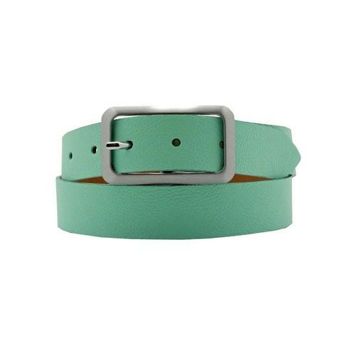 AnnaMatoni Ledergürtel, Mit satinierter eckiger schlichter Gürtelschließe grün Damen Ledergürtel Gürtel Accessoires