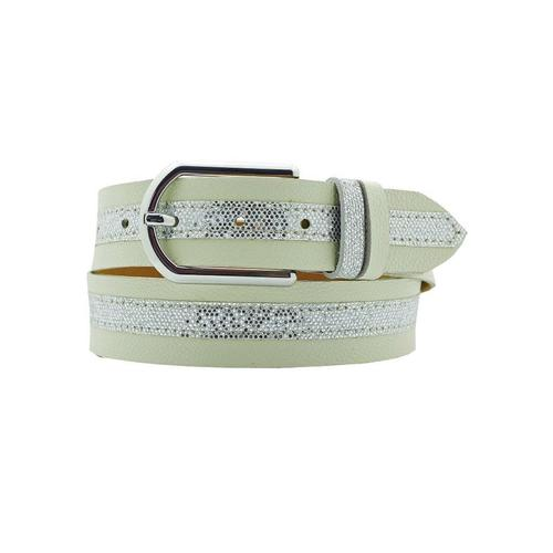 AnnaMatoni Ledergürtel, Mittig mit Glitterstreifen beige Damen Ledergürtel Gürtel Accessoires