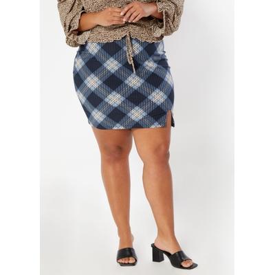 Rue21 Womens Plus Size Dark Blue Plaid Print Thigh Slit Mini Skirt - Size 1X