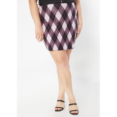 Rue21 Womens Plus Size Purple Argyle Print Thigh Slit Mini Skirt - Size 1X