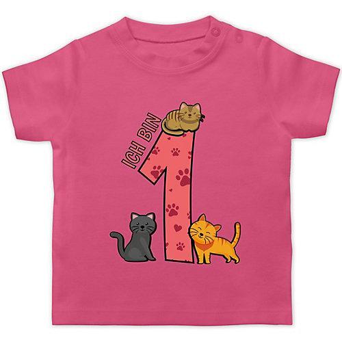 Baby Geburtstag Geburtstagsgeschenk 1. Geburtstag Katzen T-Shirts Kinder pink Kleinkinder