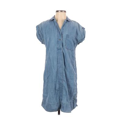 J.Crew - J.Crew Casual Dress - Shirtdress: Blue Solid Dresses - Used - Size Small