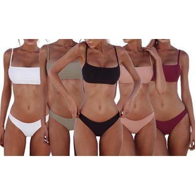 Women's Low-Waisted Two-Piece Swimwear: White/Size L