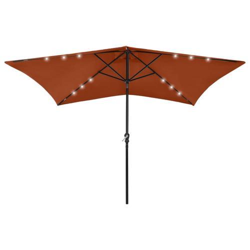 vidaXL Sonnenschirm mit LEDs und Stahl-Mast Terracotta-Rot 2x3 m