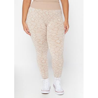 Rue21 Womens Plus Size Neutral Snake Print Seamless Leggings - Size 1X