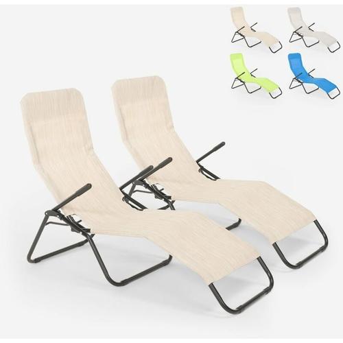 2 klappbare Liegestühle aus Stahl Pasha   Beige
