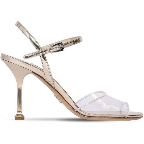 Prada 90mm Hohe Sandaletten Aus Plexiglas Und Leder