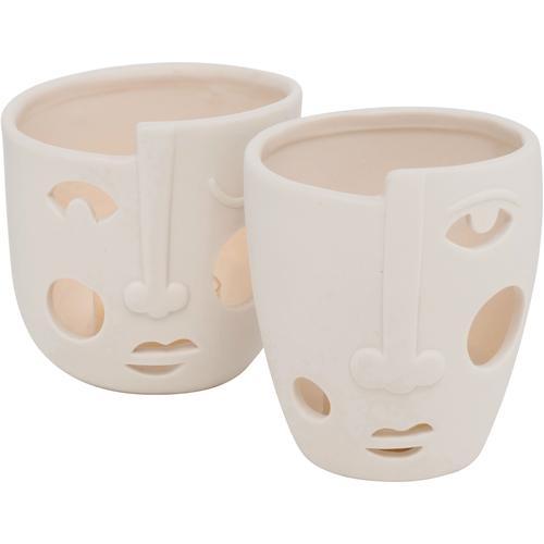 BOLTZE Windlicht Faces, aus Porzellan beige Kerzenhalter Kerzen Laternen Wohnaccessoires