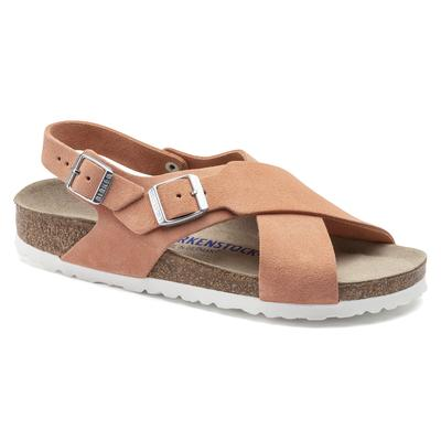BIRKENSTOCK Tulum Suede Leather Coral Peach With An Ankle Strap