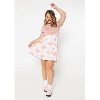Rue21 Womens Plus Size 2-Piece Pink Argyle Print Pleated Dress And Tee - Size 1X